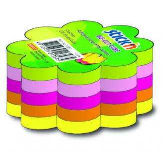 Blocco foglietti rimovibili, forma fiore, colori neon assortiti, 67x67mm, confezione da 250 fogli