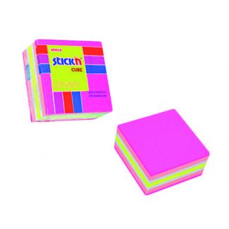 Blocco foglietti rimovibili, colori neon e pastello fucsia, 51x 51mm, confezione da 250 fogli
