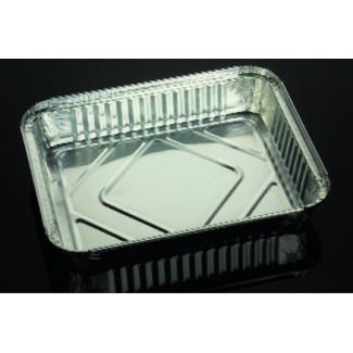 Vaschetta alluminio da 4 porzioni, base rettangolare, con predisposizione chiusura coperchio cartoncino alluminato confezione da 100 pezzi