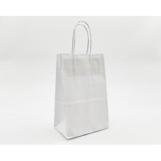 Shopper kraft bianco con maniglia ritorta