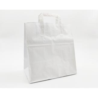 shopper kraft bianco fondo largo con maniglia piatta cm 27 + 17 x 29 confezione da 50 pezzi