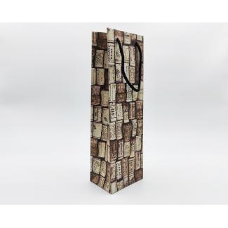 """shopper kraft fantasia """"corks"""" 1 bottiglia, con maniglia in cordone cotton, cm 12 x 9 x 39 confezione da 10 pezzi"""