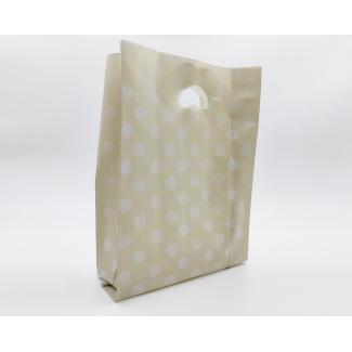 """shopper in plastica hdpe tortora con fantasia """"pois""""bianchi, maniglia fustellata a fagiolo, confezione da 5 kg."""