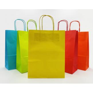Shopper kraft tinta unita assortito chiaro con maniglia ritorta