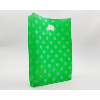"""shopper in plastica hdpe verde con fantasia """"pois"""" bianchi, maniglia fustellata a fagiolo, confezione da 5 kg."""