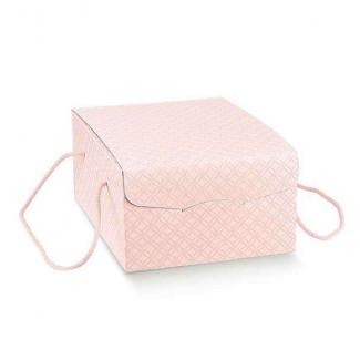 """Scatola """"segreto"""" automontante con cordini, base rettangolare in cartone rosa confetto"""