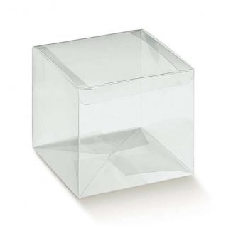 Scatola in plastica trasparente, con base quadrata pre-incollata automontante, confezioni da 10 pezzi