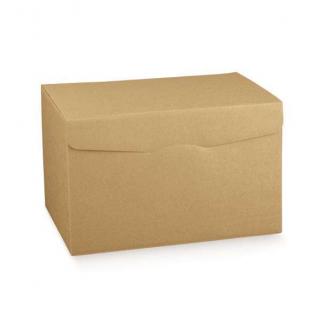 """Scatola """"segreto"""" automontante base quadrata in cartone avana liscio"""