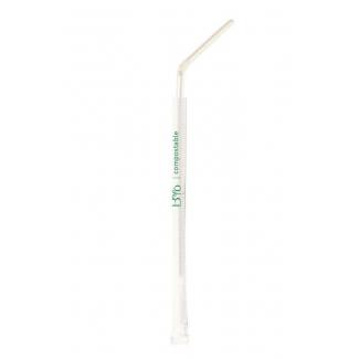 Cannuccia con snodo bianca biodegradabile monoimbustata 20cm confezione da 200 pezzi