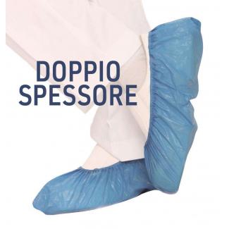 Copriscarpe in plastica cpe blu a doppio spessore confezione da 100 pezzi