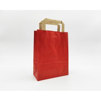 Shopper sealing millerighe rosso con maniglia piatta