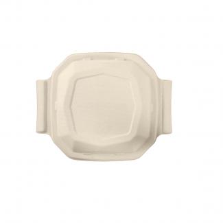 Coperchio biodegradabile in polpa di cellulosa per piatto ottagonale da 1000 ml in confezione da 50 pezzi