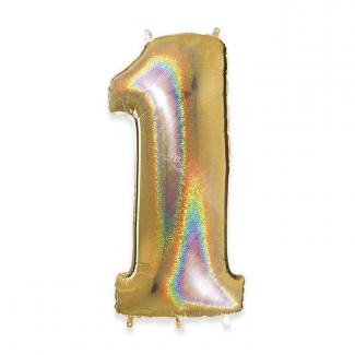 Palloncino in Mylar, alto 102cm colore oro glitter