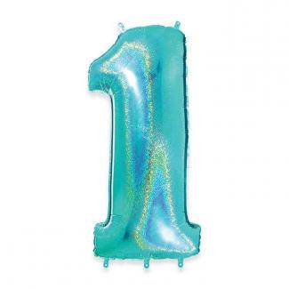Palloncino in Mylar, color acqua marina, alto 102cm