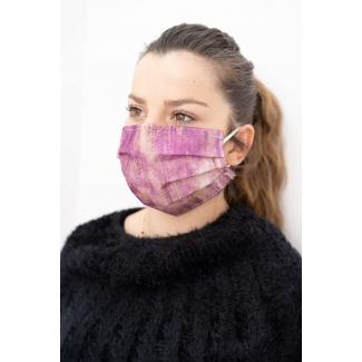 mascherina in tnt per adulto con fiori fucsia in confezione da 10 pezzi