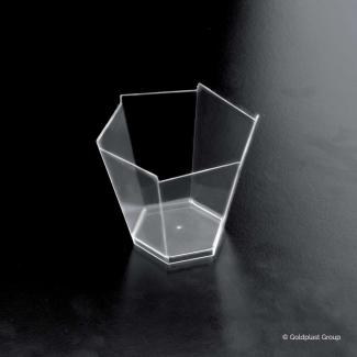 Bicchierino esagonale fingerfood trasparente 100cc confezione da 25 pezzi