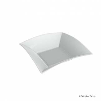 Piatto fondo quadrato 18x18cm polpa di cellulosa biodegradabile confezione da 50 pezzi