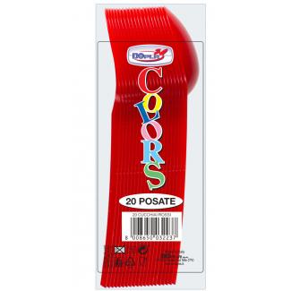Cucchiaio di plastica rosso in confezione da 20 pezzi