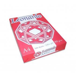 """Risma di carta bianca fabriano """"""""leonardo"""""""" da 80 gr/mq, in formato A4, in confezione da 500 fogli"""