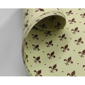 Carta regalo crema in fogli, fantasia giglio di firenze stilizzato marrone, cm 70x100, confezione da 25 fogli