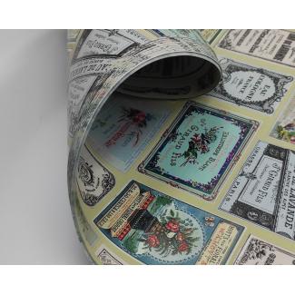 Carta regalo fantasia etichette profumi, fogli da 70x100 cm, confezione da 25 fogli