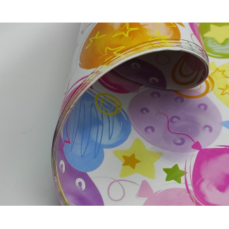 Carta regalo multicolor, fantasia cuori e palloncini, fogli da 70x100 cm, confezione da 25 fogli