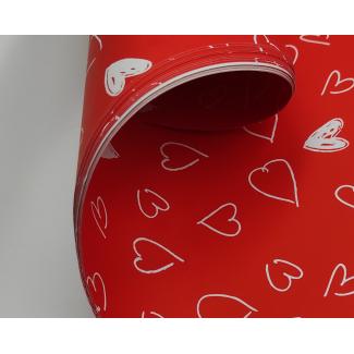 Carta regalo fondo rosso, fantasia cuori bianchi stilizzati, fogli da 70x100 cm, confezione da 25 fogli