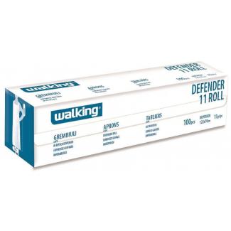 Grembiule defender in plastica bianca con confezione salvaspazio rotolo da 100 pezzi