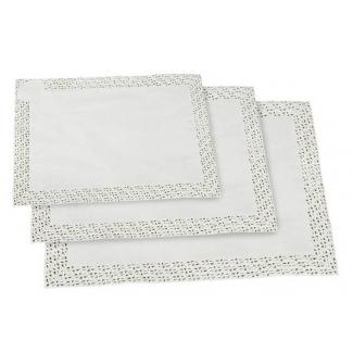 Pizzo rettangolare smerlato in carta bianco, confezione da 100 pezzi