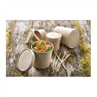 """Contenitore con coperchio linea """"Soup"""" in cartonino kraft avana"""