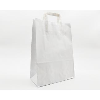 Shopper kraft bianco con maniglia piatta