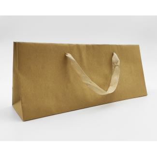 shopper portabottiglia baguette kratf avana con maniglia fettuccia di cotone cm 39 x 10 x 16 + 5 confezione da 12 pezzi