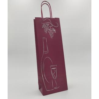 shopper portabottiglia bordeaux, con maniglia ritorta cm  14 + 8.5 x 39.5 confezione da 25 pezzi