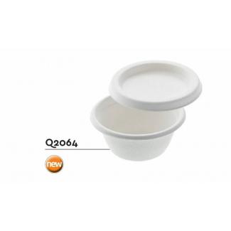 Ciotolina tonda con coperchio in polpa di cellulosa  diametro 6.8 cm h3 cm confezione da 50 pezzi
