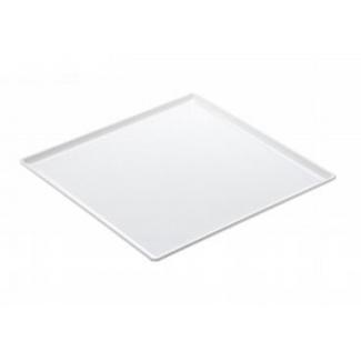Vassoio quadrato in melamina bianco con bordi laterali