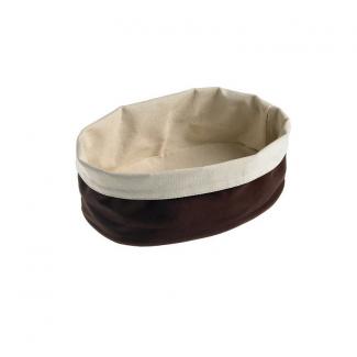 Contenitore ovale porta pane in cotone lavabile color cacao
