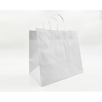shopper kraft bianco fondo largo, con maniglia ritorta, cm 35 + 22 x 32 confezione da 15 pezzi