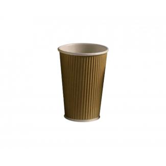 Bicchiere termico cartoncino biodegradabile laminato PLA triplo strato onda avana