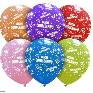 """Palloncino con scritta """"BUON COMPLEANNO"""" in confezione da 25 pezzi, colori assortiti"""