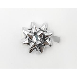 Coccarda stella adesiva lux color argento metallizzato confezione da 100 pezzi