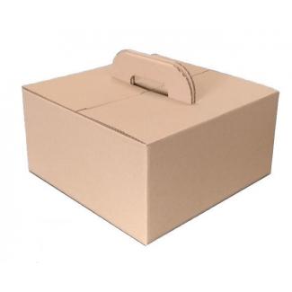 Scatola bauletto take-away con maniglia in cartoncino avana 33x33cm h.17, cartone da 20 pezzi