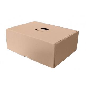 Scatola bauletto take-away con foro interno maniglia in cartoncino avana 48x33cm h.17, cartone da 10 pezzi