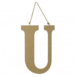"""Lettera in legno """"u"""" da appendere cm 15x1.2 h 22"""