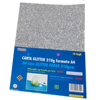 Fogli carta glitterata, formato A4, 210gr, tinta unita