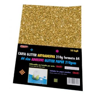 Fogli carta glitterata adesiva, formato A4, 210gr, tinta unita