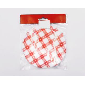 Coprivasetto in Tessuto Non Tessuto (TNT), con elastici, diametro 15.5 cm, fantasia dado, confezione 25 pezzi
