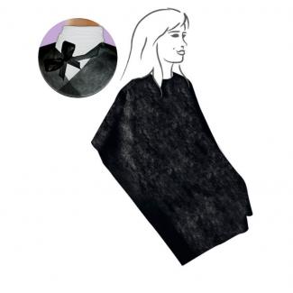 Mantella nera in tessuto non tessuto con laccio 120x100cm, confezione da 30 pezzi