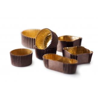 Pirottino rettangolare marrone con interno oro impermeabile, confezione da 1000 pezzi