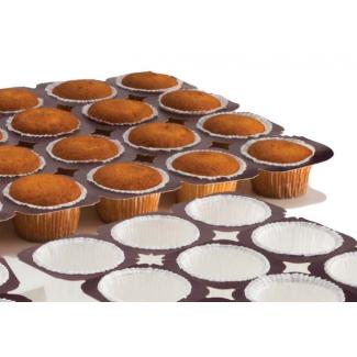 Kit 240 pirottini bianchi da muffin + 10 teglie in cartone pretagliato per cottura