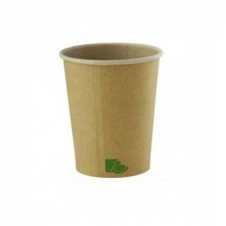 Bicchiere cartoncino kraft avana con interno avana confezione da 50 pezzi
